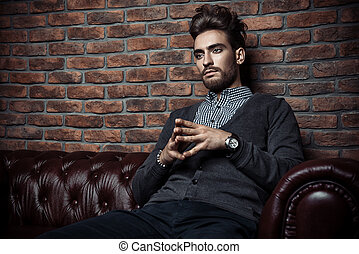 respectable thoughtful man - Imposing handsome man in...