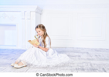 angelic child - Angelic little girl with blonde hair in...