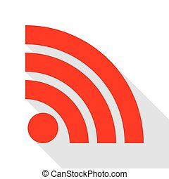 RSS sign illustration. Red icon with flat style shadow path.