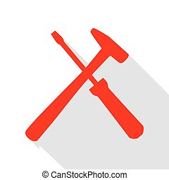 Tools sign illustration. Red icon with flat style shadow...
