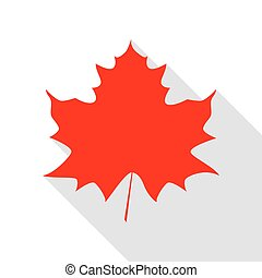 Maple leaf sign. Red icon with flat style shadow path.