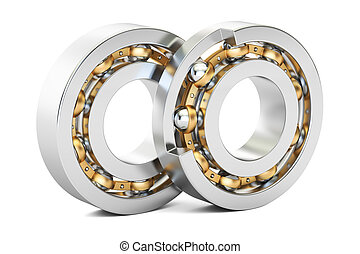 Ball bearings, cutaway. 3D rendering isolated on white...