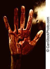 Human hand with blood. Halloween theme.