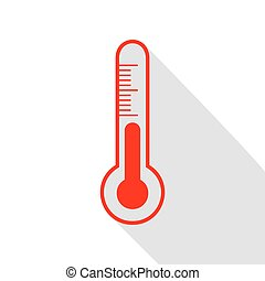Meteo diagnostic technology thermometer sign. Red icon with...
