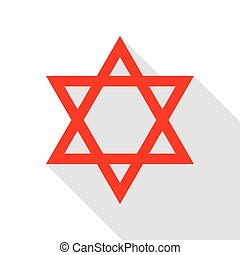 Shield Magen David Star. Symbol of Israel. Red icon with...