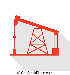 Oil drilling rig sign. Red icon with flat style shadow path.