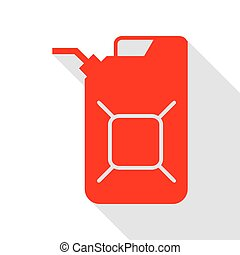 Jerrycan oil sign. Jerry can oil sign. Red icon with flat...