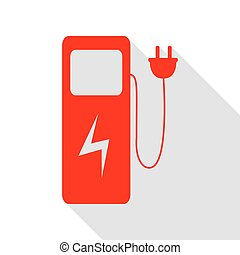 Electric car charging station sign. Red icon with flat style shadow path.
