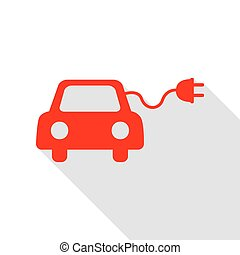 Eco electric car sign. Red icon with flat style shadow path.