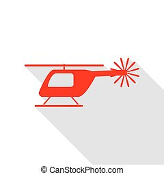 Helicopter sign illustration. Red icon with flat style shadow path.