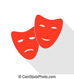 Theater icon with happy and sad masks. Red icon with flat...