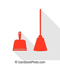 Dustpan vector sign. Scoop for cleaning garbage housework dustpan equipment. Red icon with flat style shadow path.