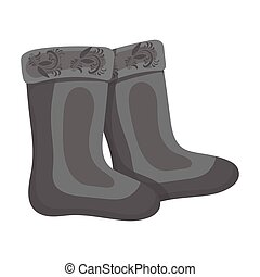 Winter felt boots icon in monochrome style isolated on white background. Russian country symbol stock vector illustration.