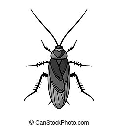 Cockroach icon in monochrome style isolated on white...