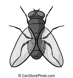 Fly icon in monochrome style isolated on white background....
