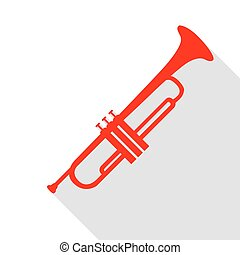 Musical instrument Trumpet sign. Red icon with flat style shadow path.