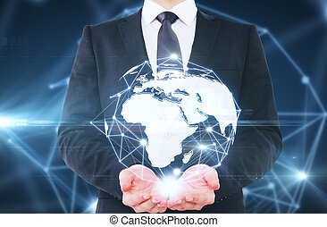 Global business concept - Man holding abstract connected...