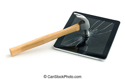 Tablet screen broken with a hammer. Isolated on white...