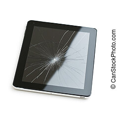 Tablet computer with broken screen. - Tablet computer with...
