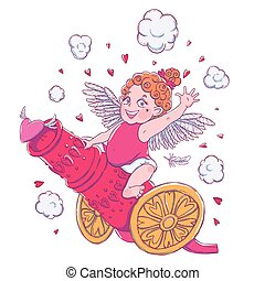 Valentine's day. Funny Cupid-girl riding on a cannon firing hearts.