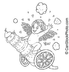 Valentine's day. Funny Cupid-boy riding on a cannon firing hearts.