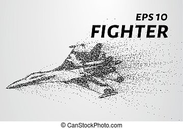 Fighter of the particles. The silhouette of the fighter is of little circles. Vector illustration