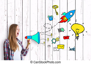 Business idea concept - Young caucasian woman screaming into...