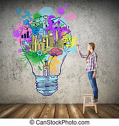 Creative idea concept - Girl drawing colorful lamp in...
