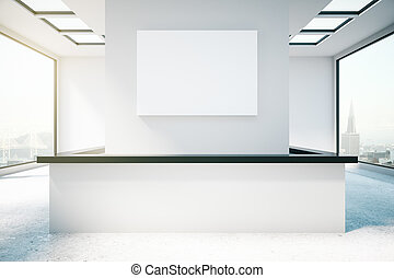 Room with light reception desk - Front view of bright...
