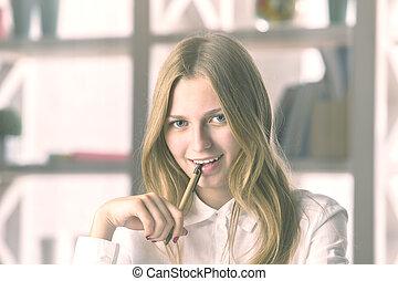Woman with pen portrait - Portrait of attractive caucasian...