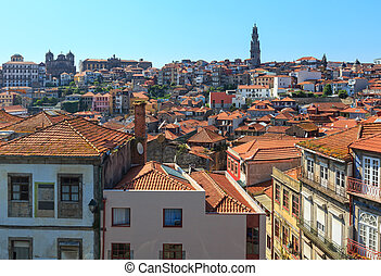 Porto city top view (Potugal). - Porto city top cityscape...