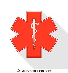 Medical symbol of the Emergency or Star of Life. Red icon...
