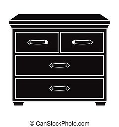 Wooden cabinet with drawers icon in black style isolated on...