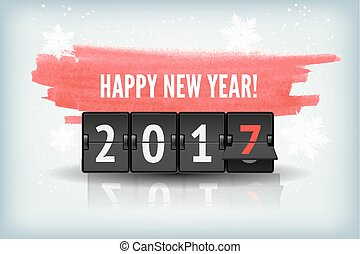 Happy New Year blue background with snowflakesand scoreboard.