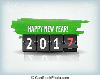 Happy New Year blue background with snowflakesand scoreboard. Vector Illustration.
