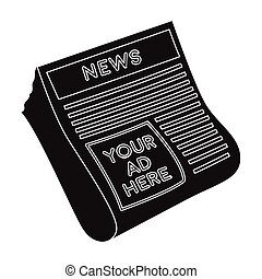 Classified ads in newspaper icon in black style isolated on...