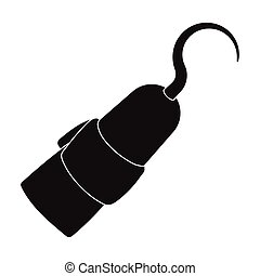 Pirate hook icon in black style isolated on white...