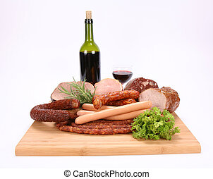 Selection of cold meat (ham, sirloin, headcheese, sausages,...