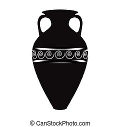 Greece amphora icon in black style isolated on white...
