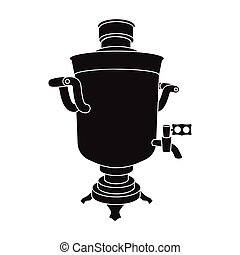 Samovar icon in black style isolated on white background. Russian country symbol stock vector illustration.