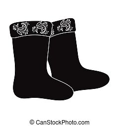 Winter felt boots icon in black style isolated on white background. Russian country symbol stock vector illustration.