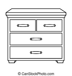 Wooden cabinet with drawers icon in outline style isolated...