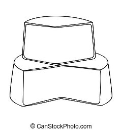 Soft cheese icon in outline style isolated on white...
