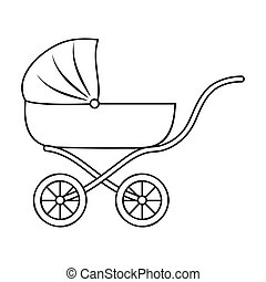 Pram icon in outline style isolated on white background....