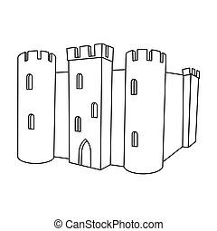 English castle icon in outline style isolated on white...