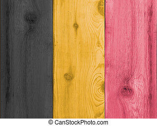 Timber planks in the shape of a Belgium flag - Timber planks...