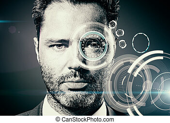Security scanning concept - Portrait of man with abstract...