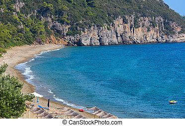 Aegean sea coast with beach (Greece). - Aegean sea coast and...