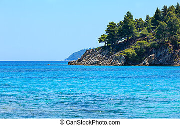 Aegean sea coast (Chalkidiki, Greece). - Summer Aegean sea...