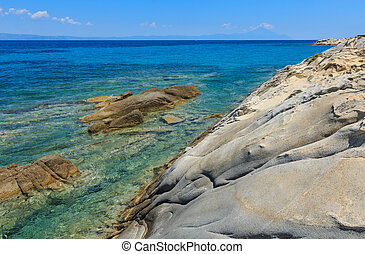 Aegean sea coast (Chalkidiki, Greece). - Aegean sea rocky...
